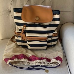 Almost New! Tory Burch Kerrington Striped Backpack